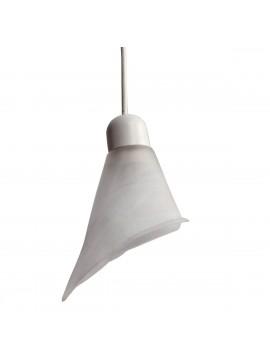 Κρεμαστό Φωτιστικό Μονόφωτο Λευκό Αλάβαστρο Γυαλί E14 Φ15x75 TOP-1019-1