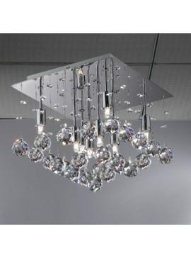Φωτιστικό οροφής κρεμαστό Φωτιστικό, 40x40x32, Χρώμιο με Κρύσταλλα, 6 λάμπες τύπου G9 (Max 40 Watt, δεν περιλαμβάνονται), TOP-1821C-6