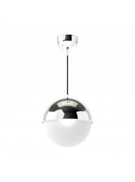 Φωτιστικό κρεμαστό μεταλλικό σε χρώμα Χρώμιο, με λευκή μπάλα , μονόφωτο,διάμετρος 20εκ. TOP-9004-1