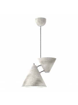 Φωτιστικό κρεμαστό μεταλλικό, κατασκευασμένο με τεχνοτροπία λευκού τσιμεντοχρώματος-πέτρα (με inox λεπτομέρειες) και γκρι υφασμάτινο καλώδιο, μονόφωτο.TOP-9013-1