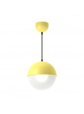 Φωτιστικό κρεμαστό μεταλλικό σε χρώμα Κίτρινο, με λευκή μπάλα , μονόφωτο,διάμετρος 20εκ. TOP-9023-1K
