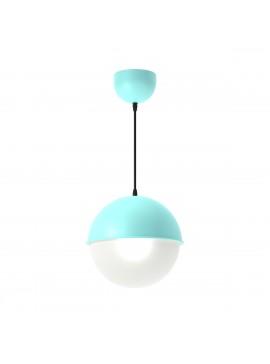 Φωτιστικό κρεμαστό μεταλλικό σε χρώμα Τυρκουάζ, με λευκή μπάλα , μονόφωτο,διάμετρος 20εκ. TOP-9025-1T