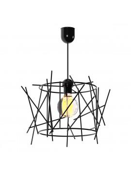 Φωτιστικό Κρεμαστό Στρόγγυλο Μεταλλικό Μαύρο Μονόφωτο E27 Φ40*100 TOP-922-1