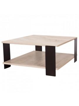 Τραπέζι Σαλονιού Σύρος 90x90 Sonoma-Καφέ, Μεταλλικά πόδια TOP-SYROS