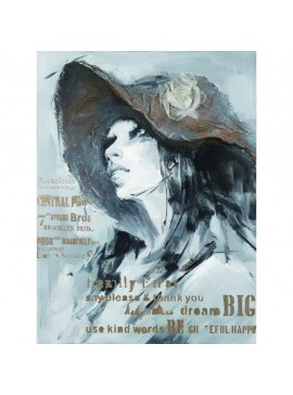 Πίνακας, Γυναίκα με το καπέλο 3D 90x120 εκ . W-140460B
