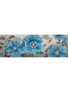 Πίνακας Μπλε Λουλούδια 120x40 εκ . W-8779