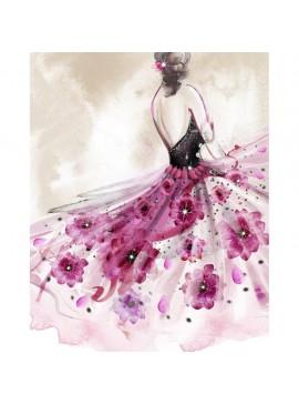 Πίνακας με STRASS, Φόρεμα με λουλούδια, 40x50 εκ . W-9750A