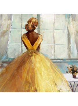 Πίνακας με φύλλο χρυσού, Το κορίτσι με το φόρεμα, 100x100 εκ . W-9922B